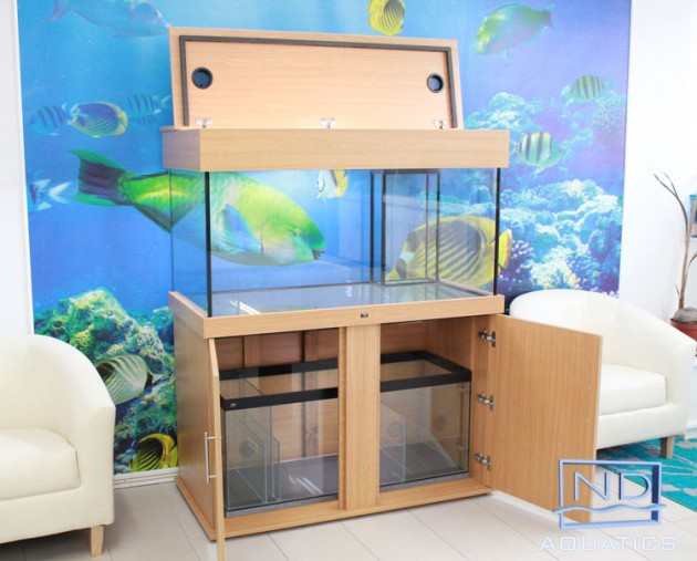 48x24x24 Marine fish tank with cabinet,sump tank & closed hood. Colour -Bama Oak