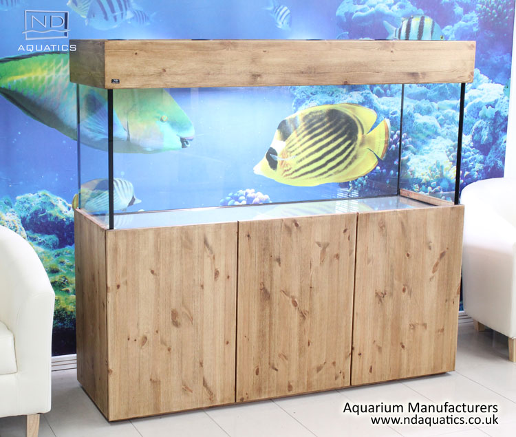 60x24x18 Tropical Fish Tank. Natural Pine Cabinet
