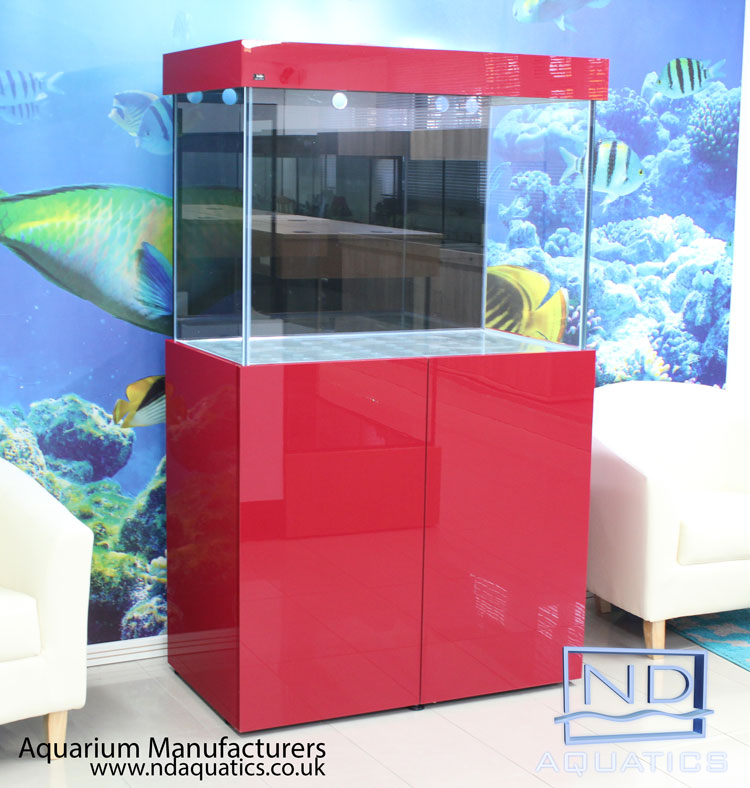 Marine fish tank with metal framed cabinet. Red High gloss cabinet & open hood