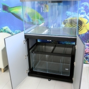 36x24x24 Marine fish tank with metal framed cabinet.