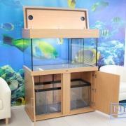 48x24x24 Marine fish tank with cabinet,sump tank & closed hood. Colour -Bama Oak