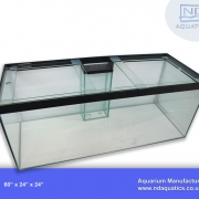 60x24x24 Marine Glass Tank with Central weir.Clear silicone