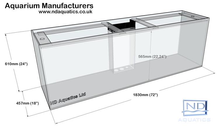 72x24x18 Marine glass tank