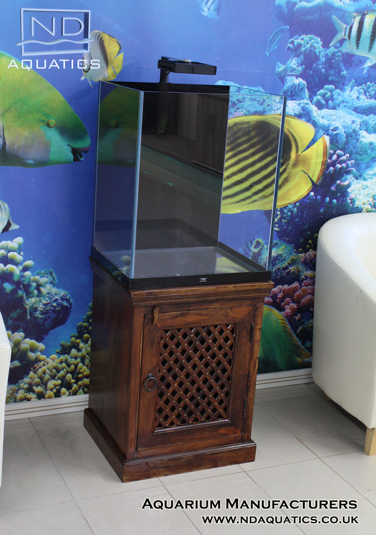 Tropical fish tank with indian oak cabinet aquarium for Fish tank cabinets